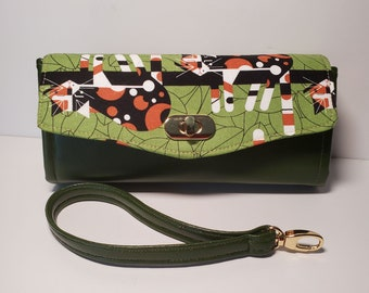 Charley Harper Cat Organic Cotton and Cactus Leather Clutch wallet with pockets and slots, Large Clutch Wallet, NCW