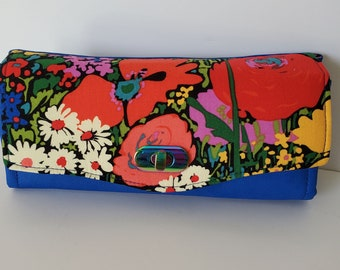 Bright Modern Floral Cotton and Sapphire Blue Lambskin Leather Clutch wallet with pockets and slots, Large Clutch Wallet, NCW