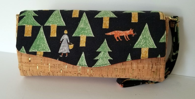 Wallet Wolf in the Woods Canvas and Cork Clutch wallet with image 0