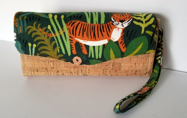 Wallet Tiger Canvas and Cork Clutch with pockets and slots image 0