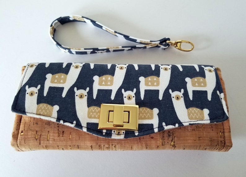 Wallet Llama Canvas and Cork Clutch wallet with pockets and image 0