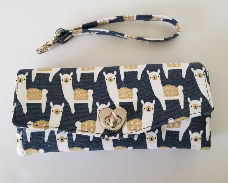 Canvas Clutch Llama canvas wallet with pockets and slots image 0