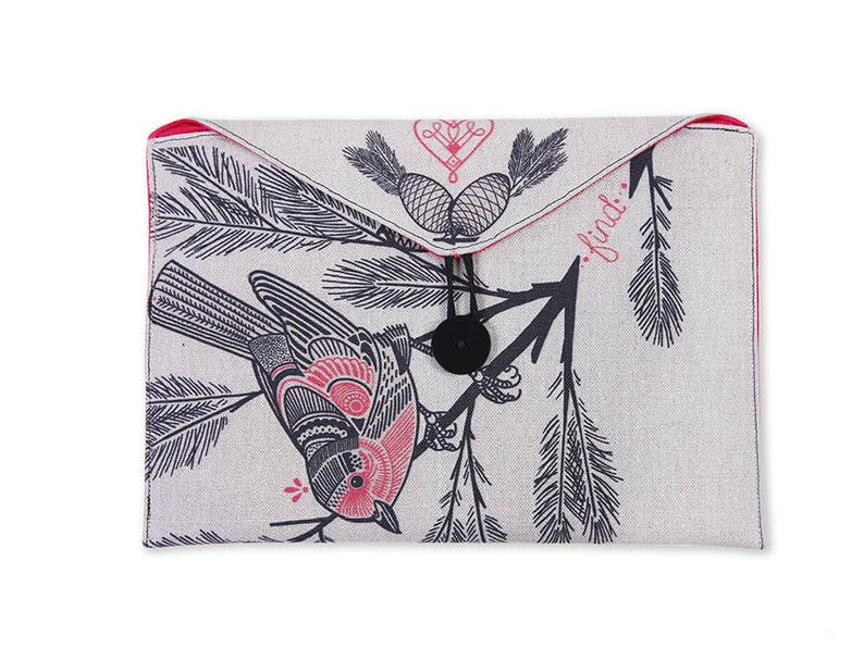 Warbler tattoo art Hemp envelope clutch tablet cover iPad image 0