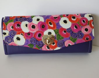 Large clutch wallet, Dark Purple Marine Vinyl Clutch wallet with pockets and slots, Purple, Pink, Red cotton flap, Necessary Clutch Wallet