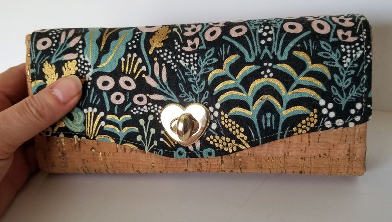 Cork Clutch Wallet Large Floral Canvas and Cork Clutch wallet image 0