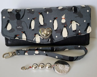 Penguins Cotton and Cork Clutch wallet with pockets and slots, Large Clutch Wallet, Necessary Clutch Wallet, Cork and Cotton clutch