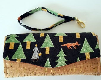 Fox in the Woods Canvas and Cork Clutch wallet with pockets and slots, Clutch, Large Wallet, Necessary Clutch Wallet, cork and canvas clutch