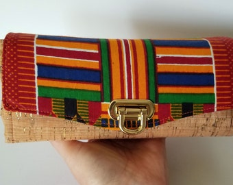 African Wax Print Cotton and Cork Clutch wallet with pockets and slots, Large Clutch Wallet, Necessary Clutch Wallet, Cork and Cotton clutch