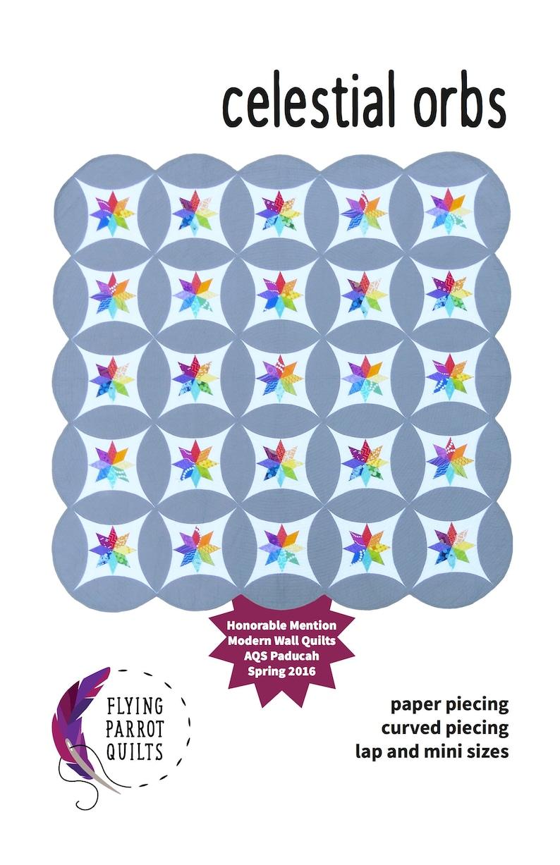 Celestial Orbs paper pieced modern quilt pattern pattern image 0
