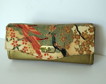 Cranes and Cherry Blossoms cotton and Gold Cactus Leather Wallet, large Clutch Wallet, Necessary Clutch Wallet