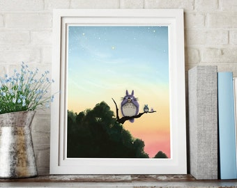 Giclee Art Print | Totoro and Friends | Evening Sky | Various Sizes Available