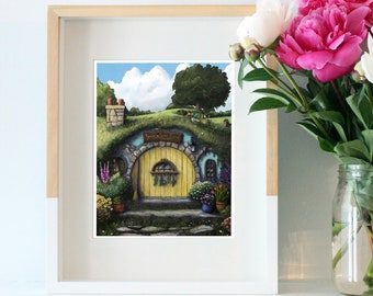 Giclee Art Print | Home Sweet Home | Hobbit Hole | Lord of the Rings Artwork| Various Sizes Available