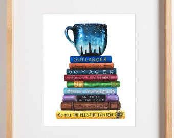Giclee Art Print | Outlander Series Book Stack | Outlander Bibliophile Art | Various Sizes Available