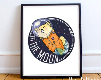 Giclee Art Print | To The Moon | Space Pup | Various Sizes Available