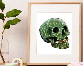Giclee Art Print | One with Nature Skull | Various Sizes Available