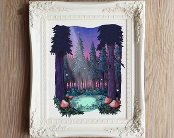 Giclee Art Print | Fairy Circle in the Moonlight | Various Sizes Available