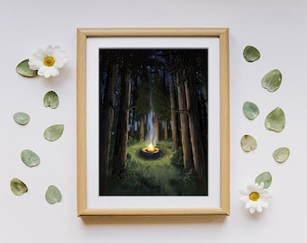 Giclee Art Print | Outer Wilds | Wilderness Forest Camping Art | Various Sizes Available
