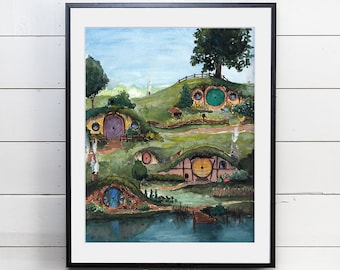 Giclee Art Print | The Shire Watercolor | Lord of the Rings | Various Sizes Available