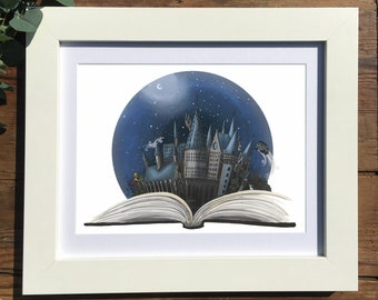 Giclee Art Print | Hogwarts from The Book | Harry Potter Artwork | Various Sizes Available