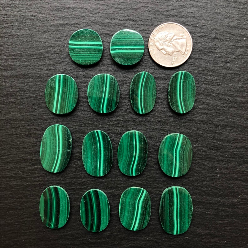 Jewelry Supplies Polished Loose Stones 14 Malachite Natural Stone Cabochons Wire Wrapping Parcel Lot of 14 Undrilled Cabs