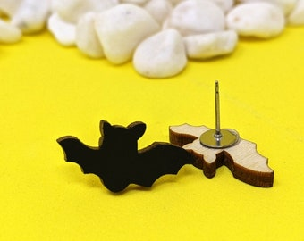 Bat - Laser Cut Handmade Wood Stud Earrings with Surgical Steel Posts Gift for Animal Lover