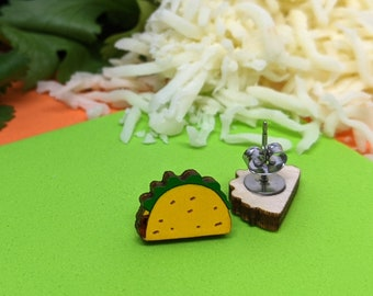 Taco earrings on stainless steel post