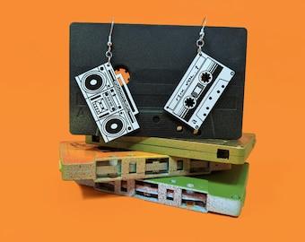 Boom Box and Cassette Tape Dangle Earrings