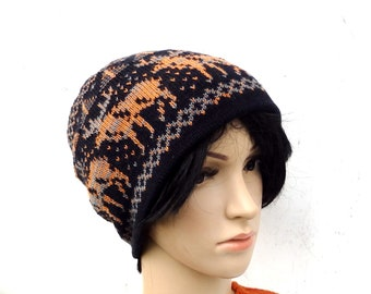 4c8b010ca1c7b7 Knitted wool beanie, knit double hat, gray black cap with lining, knit  colorful winter hat, knitted women men skull cap, knitting tam