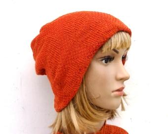 5ed6a0879f252d knitted double hat, knit orange beanie, knitting winter hat, knit cap, head  gear, women hat, men hat, hat with wool lining, women beanie