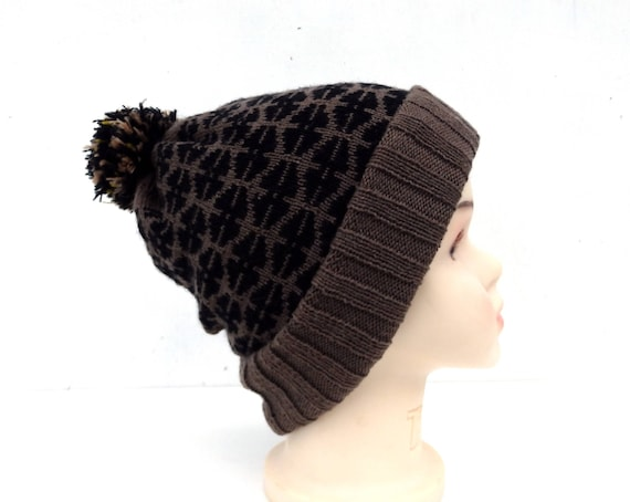 Hut Doppel-Mütze braun-schwarz-Mütze gestrickt gestrickte | Etsy
