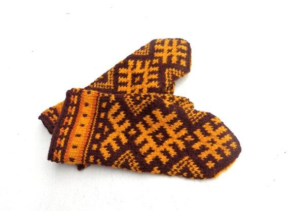 100% hohe Qualität Weltweit Versandkostenfrei Online-Einzelhändler Handgestrickte Handschuhe, lettische Handschuhe stricken gemusterten Braun  Gelb Winterhandschuhe, handgemachte Handwärmer, Fair-Isle-Handschuhe ...
