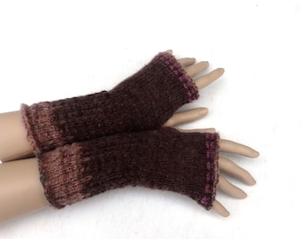 knit fingerless. knitted fingerless mittens, winter gloves, knitting autumn arm warmers, brown hand warmers, goho gloves, gauntlets