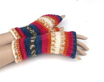 Fingerless gloves, knit colorful gloves, women arm warmers, striped fingerless mittens, winter gloves, autumn wrist warmers, boho gloves