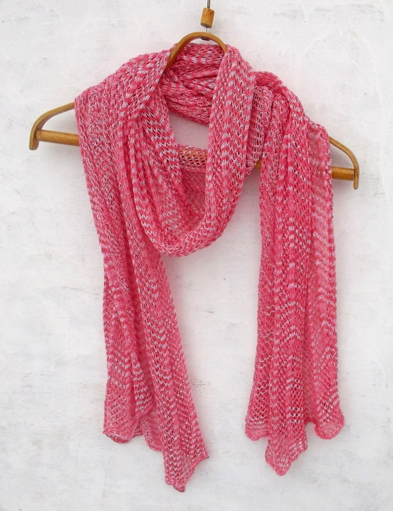 Scarf Knit Cotton Shawl Knitted Lace Scarf Knitting Pink Etsy