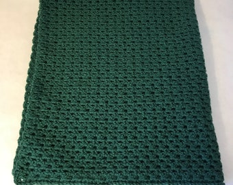 Lap Blanket, office chair throw, wheelchair lap blanket, couch throw, forest green, crocheted, living room decor
