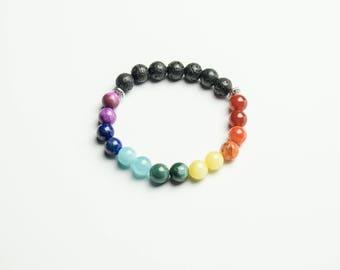 Chakra Essential Oil Diffuser Bracelet/Aromatherapy Bracelet/Lava Rock & Gemstone Bracelet/Yoga Bracelet