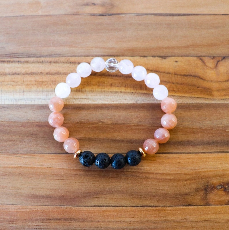 Aromatherapy Bracelet Lava Rock Bracelet Stretch Bracelet Sunstone Rose Quarts and Clear Quartz Essential Oil Diffuser Bracelet
