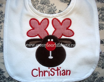 Christmas Rudolph Applique Bib with Monogrammed Name