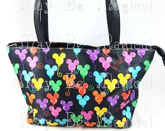 Custom Rainbow Mickey Ear Balloon Tote Bag Purse Black with Colorful mouse ear balloons Disney Style Unique Handmade Disneybounding DB