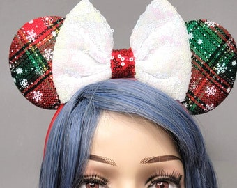 Red Green Plaid Mouse Ears Christmas Minnie Mickey Ears with White Bow Holiday Sequin Headband Adults Festive Disney Accessory for Her