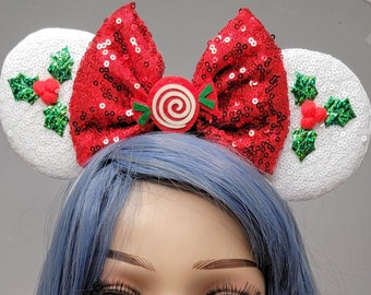 Holly Mouse Ears White Christmas Mickey Ears with Bow Holiday Sequin Headband Adults Starlight Mints Festive Disney Accessory for Her