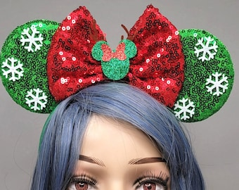 Snowflake Mouse Ears Christmas Minnie Ears Mickey Ears with Red Bow Holiday Sequin Headband Adults Festive Disney Accessory for Her