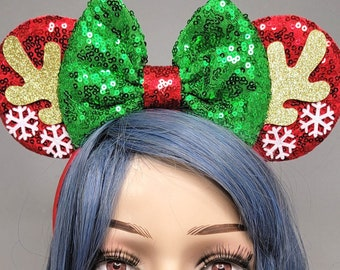 Reindeer Mouse Ears Christmas Minnie Mickey Ears with Green Bow Snowflake Holiday Sequin Headband Adults Festive Disney Accessory for Her