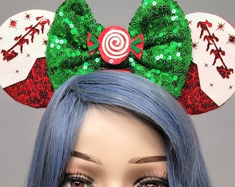 Santa Mouse Ears Christmas Minnie Mickey Ears with Green Bow Holiday Sequin Headband Adults Festive Disney Accessory for Her