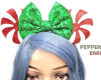 Christmas Mouse Ears Peppermint Swirl Mickey Ears with Bow Holiday Sequin Headband Adults Starlight Mints Festive Disney Accessory for Her