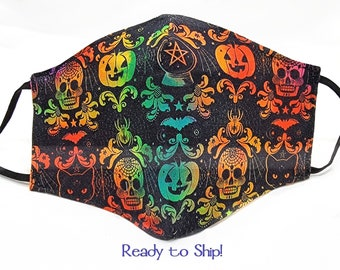 Halloween Face Mask Ombre 100% Cotton Seamless 3D Fitted Style Adjustable Adult Size Washable Reusable Cat Sugar Skull Witch Pumpkin Samhain