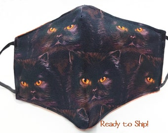 Halloween Black Cat Face Mask 100% Cotton Seamless 3D Fitted Style Adjustable Adult Size Washable Reusable Cat Lover Witch Familiar Samhain