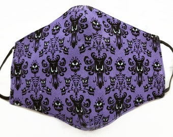 Haunted Mansion Face Mask Purple Disney Haunted Mansion Wallpaper Fabric Mask Halloween 3D Fitted Style Batwing Womens Adult Size Washable
