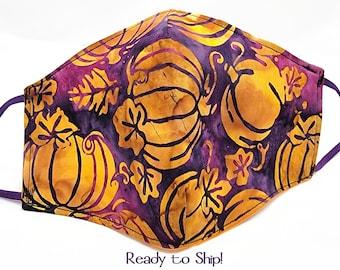 Pumpkin Face Mask Batik 100% Cotton Seamless 3D Fitted Style Adjustable Adult Size Washable Reusable Samhain Purple Orange Autumn Fall Mask