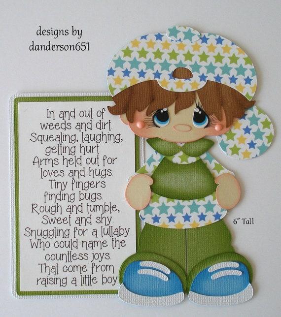 1 Baby Girl Bottle Blue Eyes Die Cut Paper Piecing Embellishment Scrapbooking